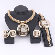 Фотография Fashion African Beads Jewelry Set Exquisite Dubai Gold Plated Square Crystal Jewelry Set Nigerian Wedding Bridal Bijoux