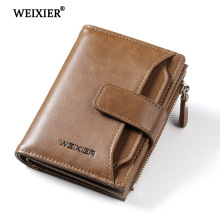 WEIXIER brand Wallet Men pu leather men wallets Zipper purse short male clutch leather wallet men money bag Credit Card Hold New цена