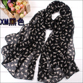 hot selling women Spring and Autumn thin long chiffon scarf shawl small cat pattern scarves wholesale