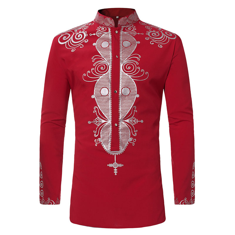 Mens Hipster African Print Dashiki Dress Shirt 2018 Brand New Tribal Ethnic Shirt Men Long Sleeve Shirts Africa Clothing Camisa splatter paint dot print long sleeve shirt