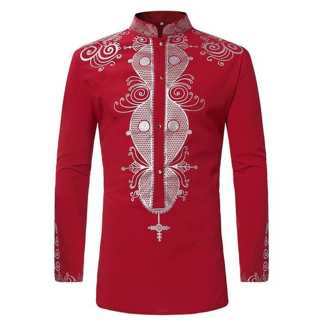 3dc57fae83dd Mens Hipster African Print Dashiki Dress Shirt 2018 Brand New Tribal Ethnic  Shirt Men Long Sleeve Shirts Africa Clothing Camisa