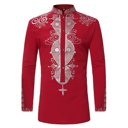 Moderno Mens Impressão Africano Dashiki Vestido Camisa 2018 Nova Marca Tribal Étnica Camisa Dos Homens de Manga Comprida Camisas Camisa Roupas África