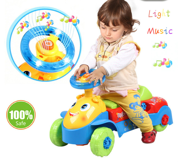 все цены на 2017 Baby Walker Rid On Toys Car Features U Type Of Hand Push And Slide With Music Can Speed Mountable Carts Toys For Children онлайн