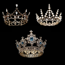 ESERES Vintage Royal Queen Crown Ancient Gold Bridal Tiara For Women Sparkling Crystal Pearl Crown Wedding Hair Accessories