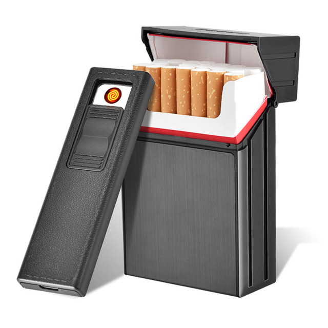 Ciagrette Holder Box with Removable USB Electronic Lighter Flameless Windproof Tobacco Cigarette Case Lighter