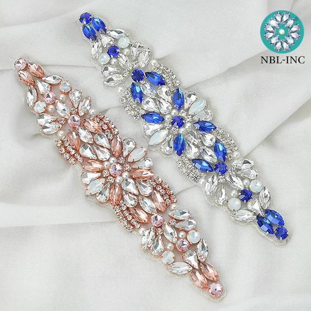 1 PC Luxury rose gold crystal glass blue rhinestone applique for wedding  bridal dress DIY sewing iron on WDD0408 abfe206edf29