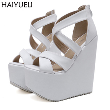 17cm High Heels Platform Wedges Shoes Black High Heels With Cross Straps  Ladies Platform Shoes Ultra Heels Chunky Heel Shoes цена