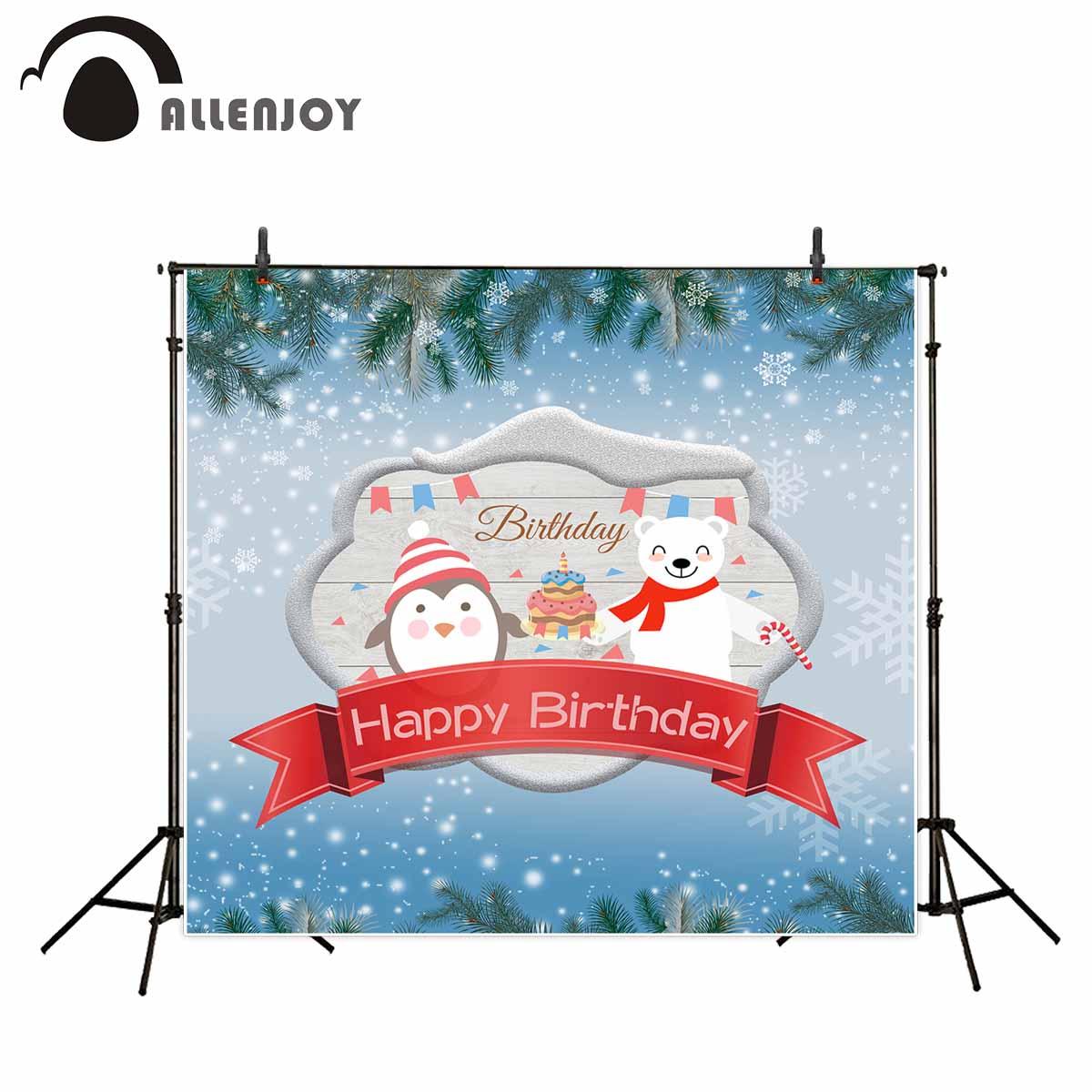 Allenjoy Geburtstag Hintergrund Winter Schnee Pinguin Bar Kiefer