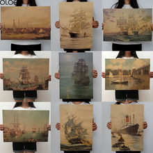 OLOEY 1PC 51.5x36cm Sailing Series Kraft Paper Poster Livingroom Bedroom Home Decor Retro Character Landscape Wall Sticker(China)