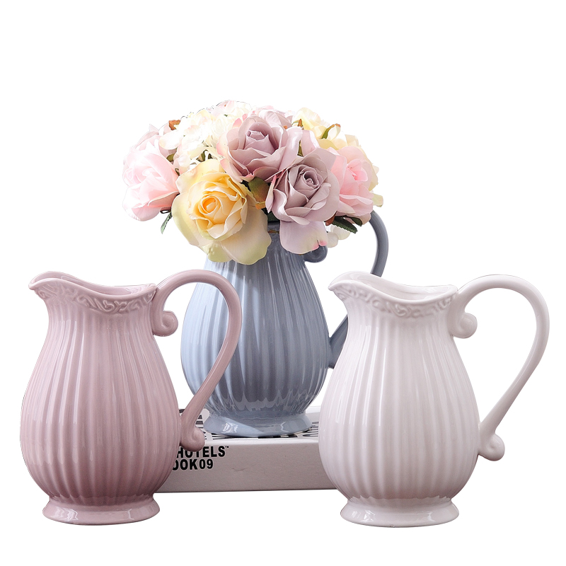 Creative Ceramic vase white/blue Handle Porcelain flower vase centerpieces for weddings vases room nordic decoration home