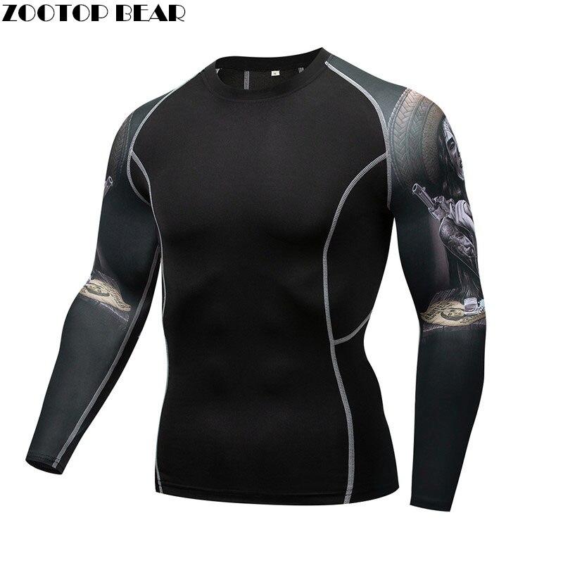 Retro T-shirt MMA Compression  quick dry Breathable Elastic Tight Weight Lifting Crossfit Top Fitness Tee Rash guard Men T-shirt