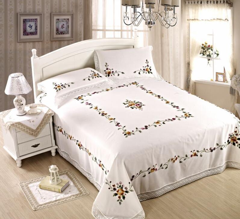 Luxury Chinese Traditional Hand Embroidered 3pcs 230X260cm Bed Sheet Set 1  Bedsheet And 2 Pillowcases With Lace Edge Embroidery  In Sheet From Home U0026  Garden ...