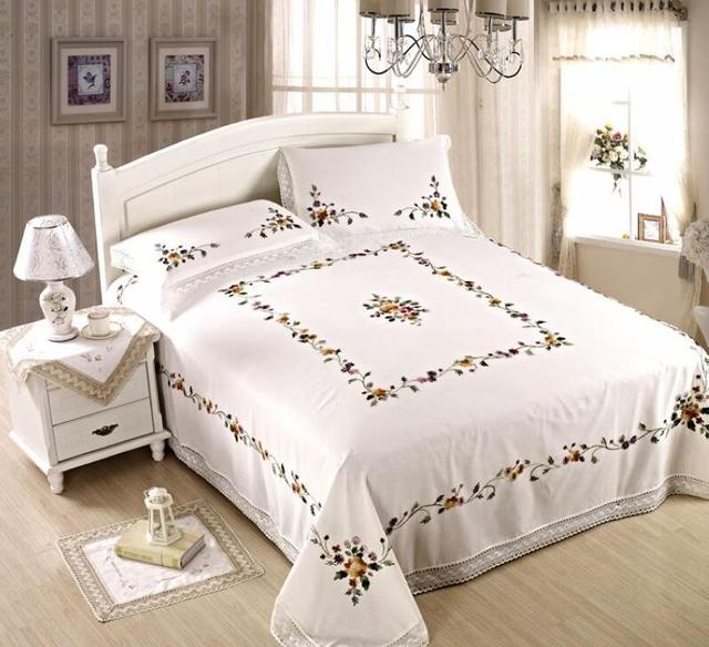 Luxury Chinese Traditional Hand Embroidered 3pcs 230X260cm Bed Sheet Set 1  Bedsheet And 2 Pillowcases With