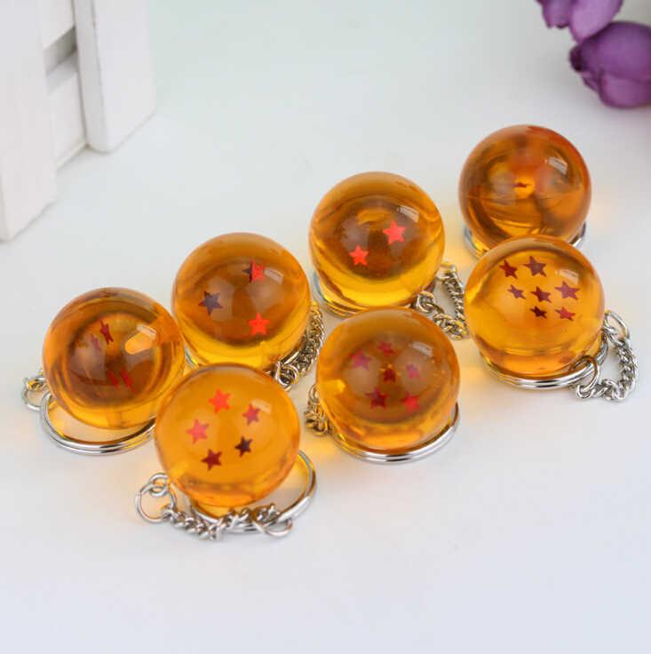 Alta qualidade 7 Estilo dos desenhos animados do Anime Dragon Ball Cosplay Cristal bola 1-7 Estrelas Chaveiro PVC figura brinquedos Chaveiro Boneca Cabide 3 cm