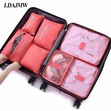 7Pcs/set Trip Luggage Organizer Polyester Portable Travel Partition Pouch Storag