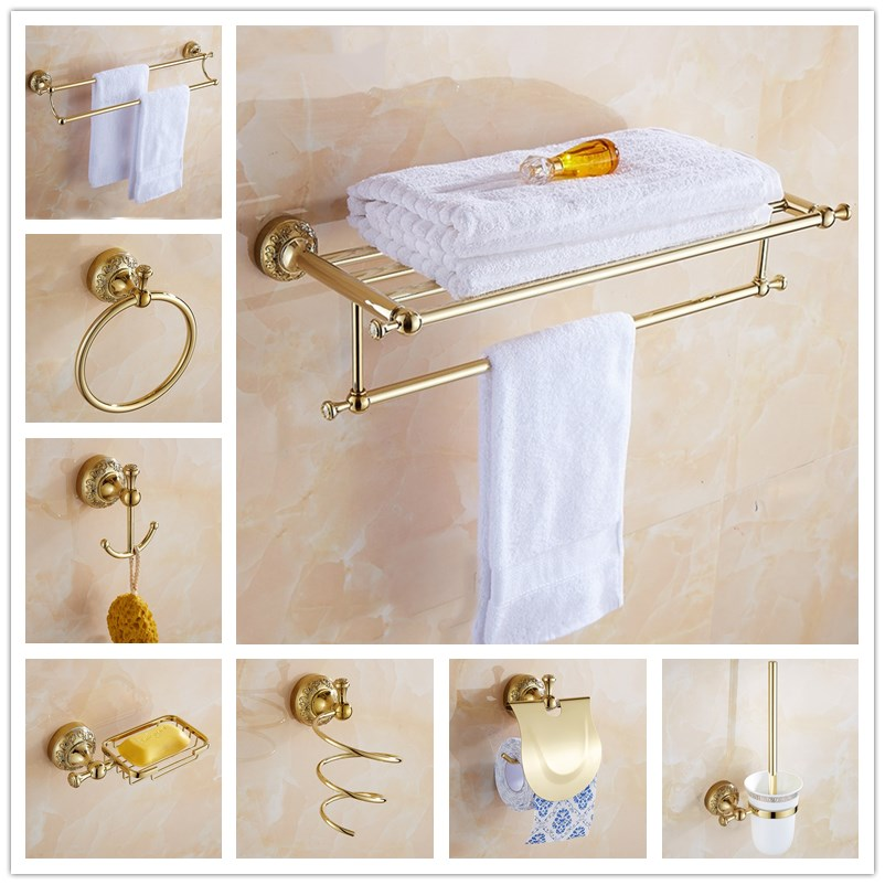 Comprar Envío libre, el más nuevo modelo, Toalla de baño, estante de la toalla, cepillo de baño, jabón, oro tallado hardware baño colgante. de bathroom hardware fiable proveedores en Duola home and garden products