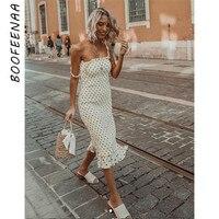 BOOFEENAA Polka Dot Ruffle Smocked Sleeveless Midi Bodycon Dress Women Summer Clothes Elegant Sexy Vintage Dresses C71 AF01