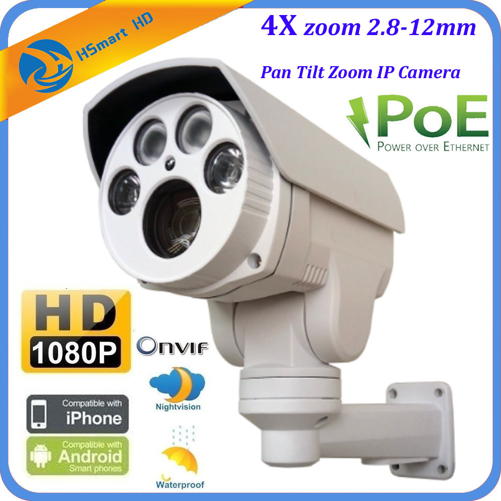 1080P Mini Outdoor IR Bullet IP POE PTZ Camera 4x Optical Zoom 2.8 12mm Lems P2P Compatible with HIKVISION/DAHUA xmeye POE NVR-in Surveillance Cameras from Security & Protection