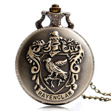 Vintage Harry Hogwarts College Slytherin Eagle Rayenclaw Potter Quartz Pocket Watch Necklace Analog Chain Men Women Kids Gifts