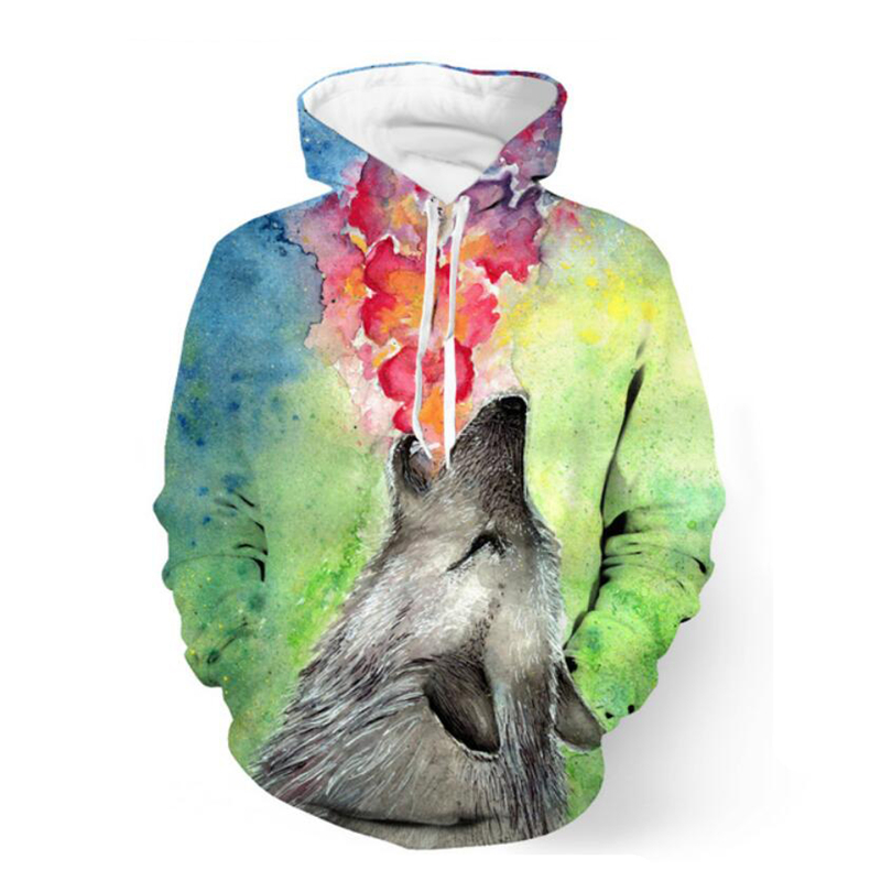 2017 New Autumn Winter Fashion Hoodies Creative Wolf Print 3D Men Women Hooded font b Sweatshirts