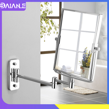 Bathroom Mirror Stainless Steel Square Floding Make Up Mirrors 3x Magnifying Dual Arm Extend 2-Face Cosmetic Mirror Wall Mounted bath mirror led cosmetic mirror 1x 3x magnification wall mounted adjustable makeup mirror dual arm extend 2 face bathroom mirror