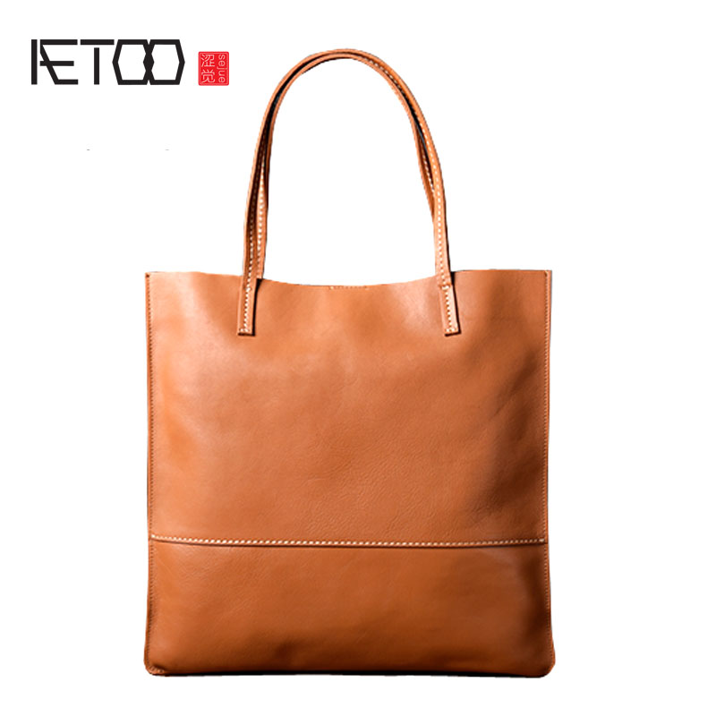 AETOO Original handmade new shoulder bag Europe and the United States simple leather shopping bag leather Tote bag commuter bag