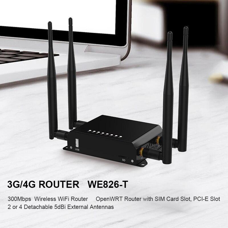 WiFi Routeur 4g 3g Modem Avec Fente Pour Carte SIM Point D'accès 128 MB Openwrt De Voiture/Bus GSM LTE Routeur Sans Fil Répéteur WE826