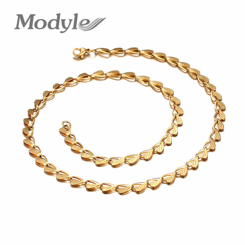 Modyle Gold-Color Stainless Steel Heart Necklace Men Jewelry Wholesale Free Shipping New Trendy Chunky Snake Chain Necklace