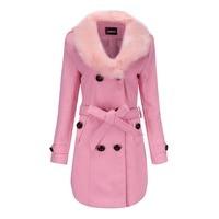 Wool Coat Women Black Pink M 5XL Plus Size Wool Coats Spring Winter Korean Office Long Slim Thick Warmth Jackets Feminina CX283