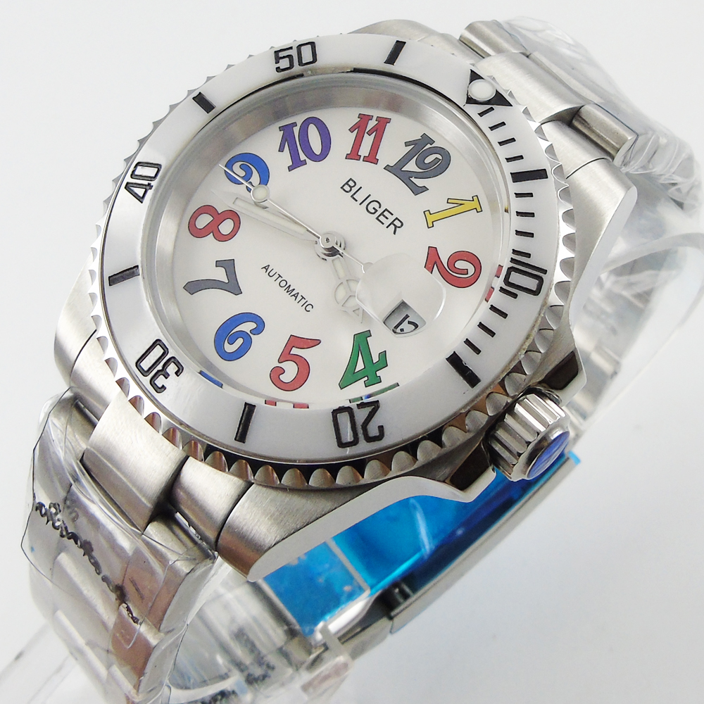 Bliger 40mm white dial date white Ceramics Bezel colorful marks saphire glass Automatic movement Men's watch bliger 40mm gray dial date blue ceramics bezel stainless steel case saphire glass automatic movement men s watch