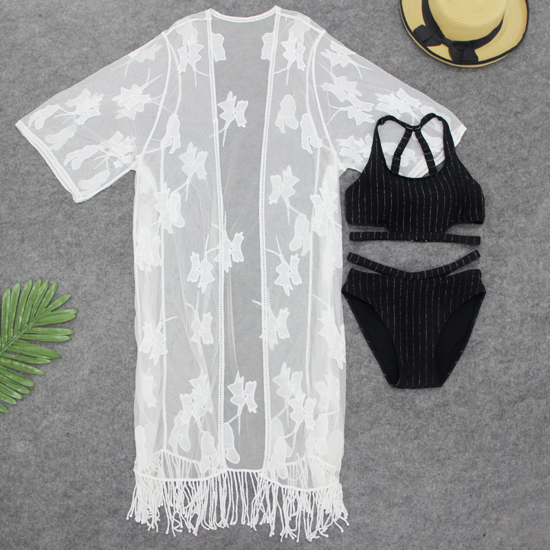 Summer Sexy Women Bikini Swimwear 3 Pieces Swimsuit with White Loose Floral Tassel Hollow Cover-Ups Hot Beach Wear Bathing Suit