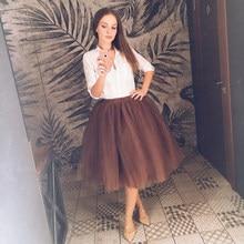 bb0177ab0d High Waist 7 Layer Midi Tulle Skirt Tutu Skirts Womens Petticoat Elastic  Belt Summer faldas saia jupe 2018