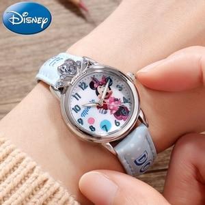 Disney Minnie Mouse, синие, розовые часы для девочек, красивые детские кварцевые часы из сумасшедшей кожи для детей, подарок, водонепроницаемые студе...