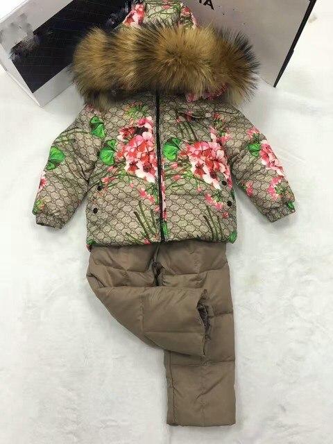 2016 Зимняя Куртка Девушки вниз пальто ребенок вниз куртки и БРЮКИ девушки утка вниз Меха с капюшоном snowsuit пальто Костюм детей набор верхняя одежда