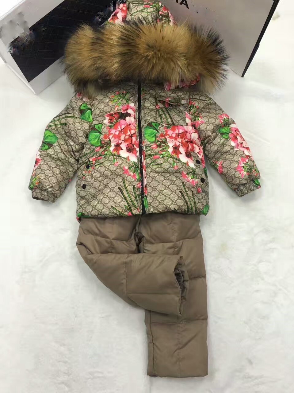 2016 Winter Jacket Girls down coat child down jackets& PANT girl duck down Fur hooded snowsuit coats children Suit set outerwear