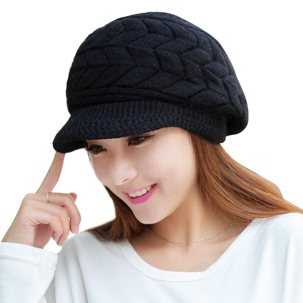 Fashion Skullies Women Winter Hats Warm Knitted Beanie Cap Ladies Casual Rabbit Fur Beanies Gorros #LH skullies