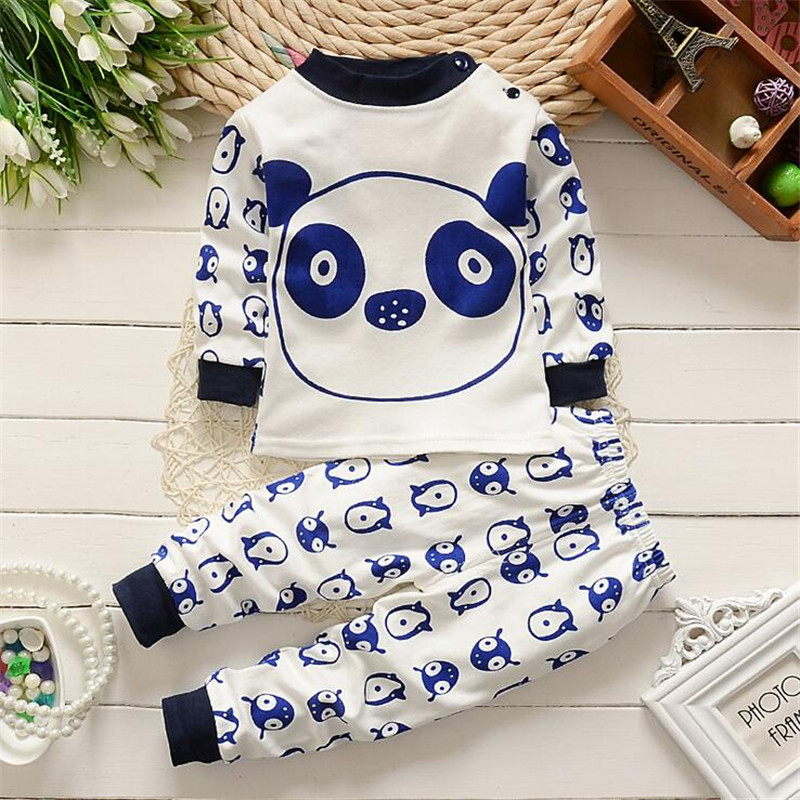 2pcs/ sets clothes pants newborn boys girls baby cute panda Sleep wear set kids children clothing toddler suit Casual Underwear hhtu 2017 new infant baby girl boys sleep clothing set children cute cartoon pajamas suit newborn kids soft cotton underwear