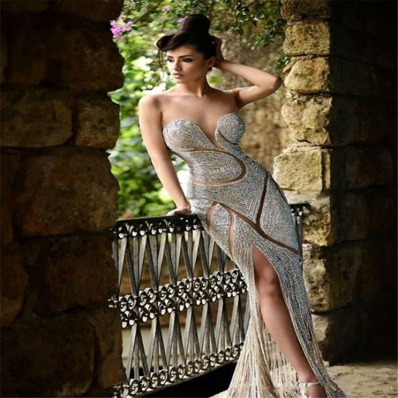 Robe De Soiree Longue Sweetheart Mermaid Evening Gown Sexy See Through Full Beading Side Split Floor Length Wedding Party Dress