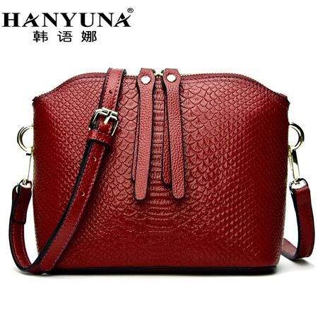 HANYUNA BRAND 2017 New Fashion Women Genuine Leather Shell Bags Casual Female Serpentine Shoulder Bags Ladies Totes 2017 new casual snake pattern genuine leather women handbag serpentine fashion shoulder bag luxury brand designer female totes
