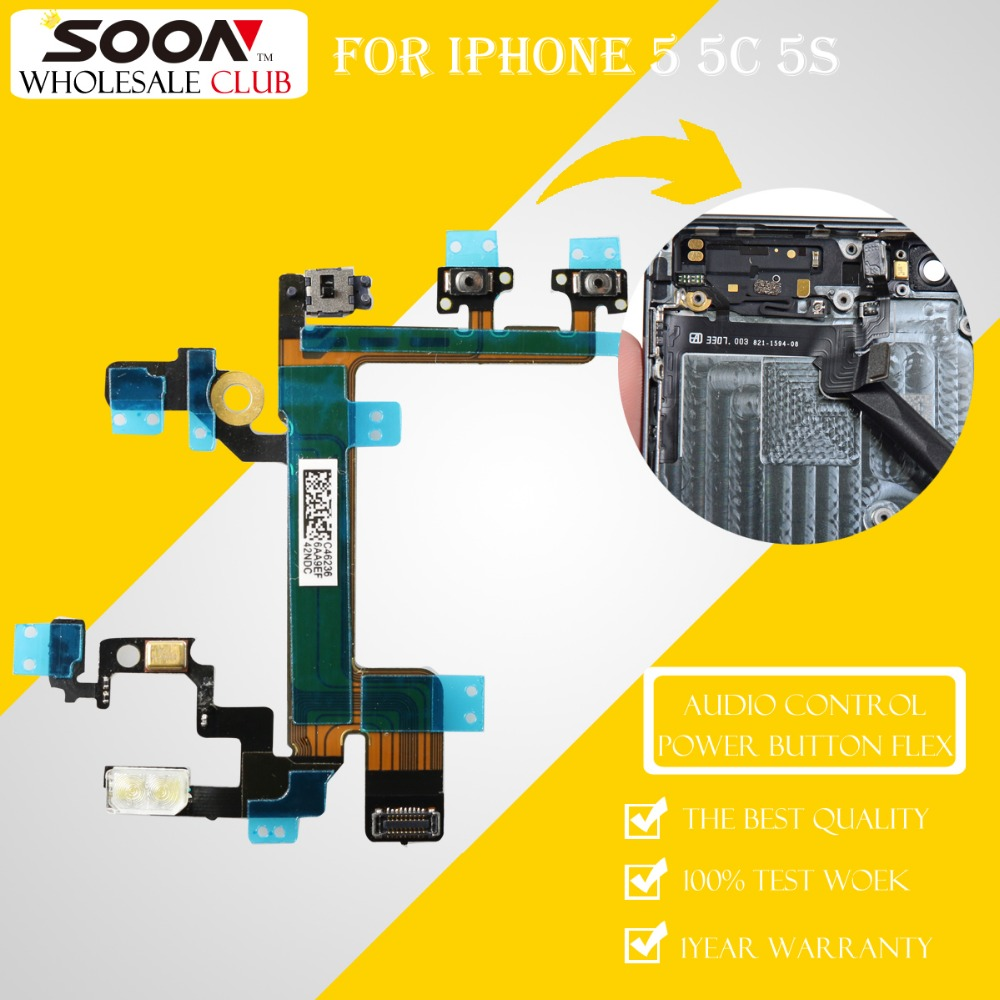 Original Soon For Iphone 5 5c 5s Mute Audio Volume Control Button Logic Board Diagram Switch On Off Power Flex Cable With Bracket In Mobile Phone Cables From Cellphones