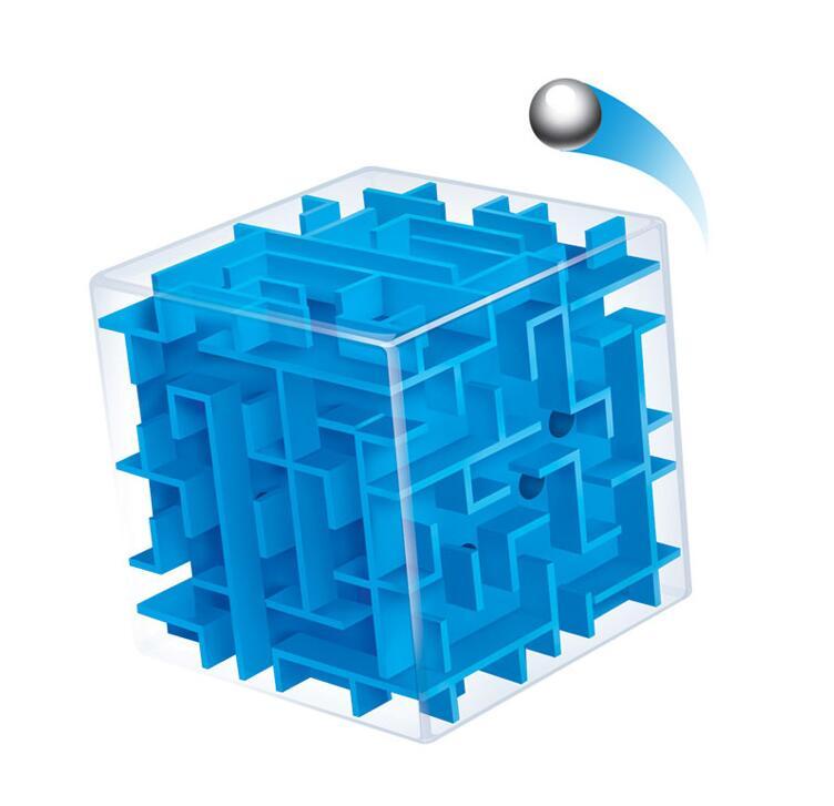 Labirinto azul cubo mágico quebra-cabeça 3d mini velocidade cubo labirinto bola de rolamento brinquedos jogo de quebra-cabeça cubos magicos aprendizagem brinquedos para chilren