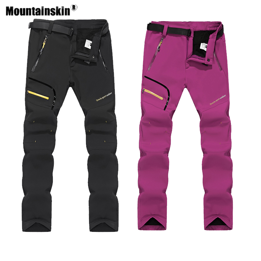 Mountainskin Men Women's Winter Fleece Softshell Pants Outdoor Sports Thermal Hiking Camping Skiing Male Female Trousers VA542