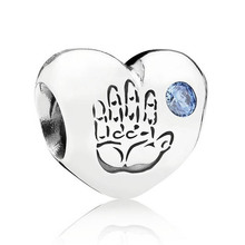 Authentic 925 Sterling Silver Bead Charm Baby Boy Love Heart With Crystal Beads Fit Pandora Bracelet DIY Jewelry