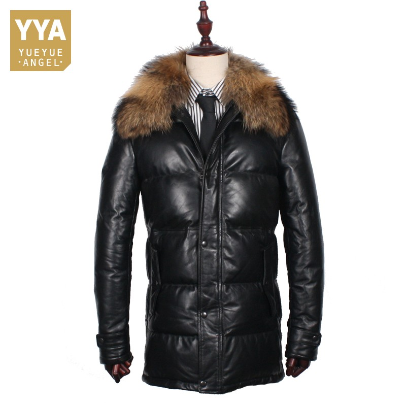 Top Quality Sheepskin Business Casual Down Coat Men Winter With Raccoon Dog Fur Collar Real Leather Long Duck Down Jacket Black