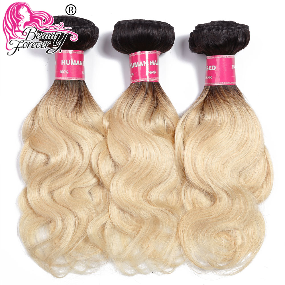 BEAUTY FOREVER Brazilian Body Wave Ombre Human Hair Bundles 3pc lot Color 1B 613 Remy Hair