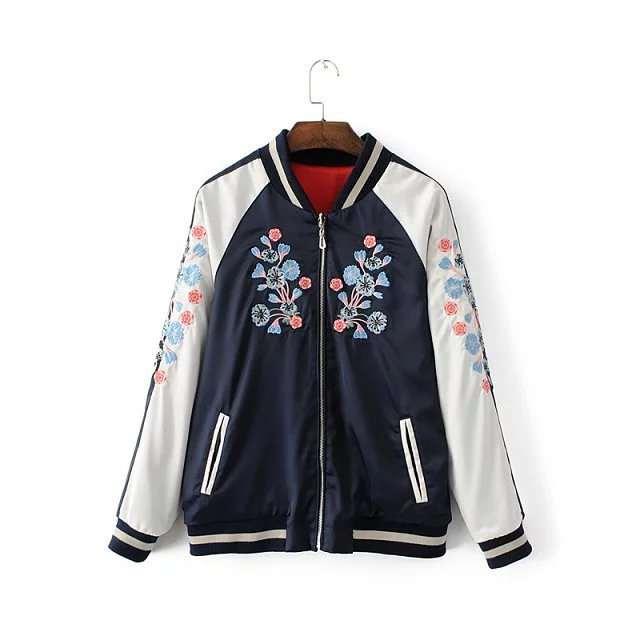 new product c91b2 c3cfc Reversible Kurze Jacke Frauen 2017 Mode Blume Chinesischen Drachen  Stickerei Jacke Frauen Bomber Jacken Mantel Piloten Oberbekleidung