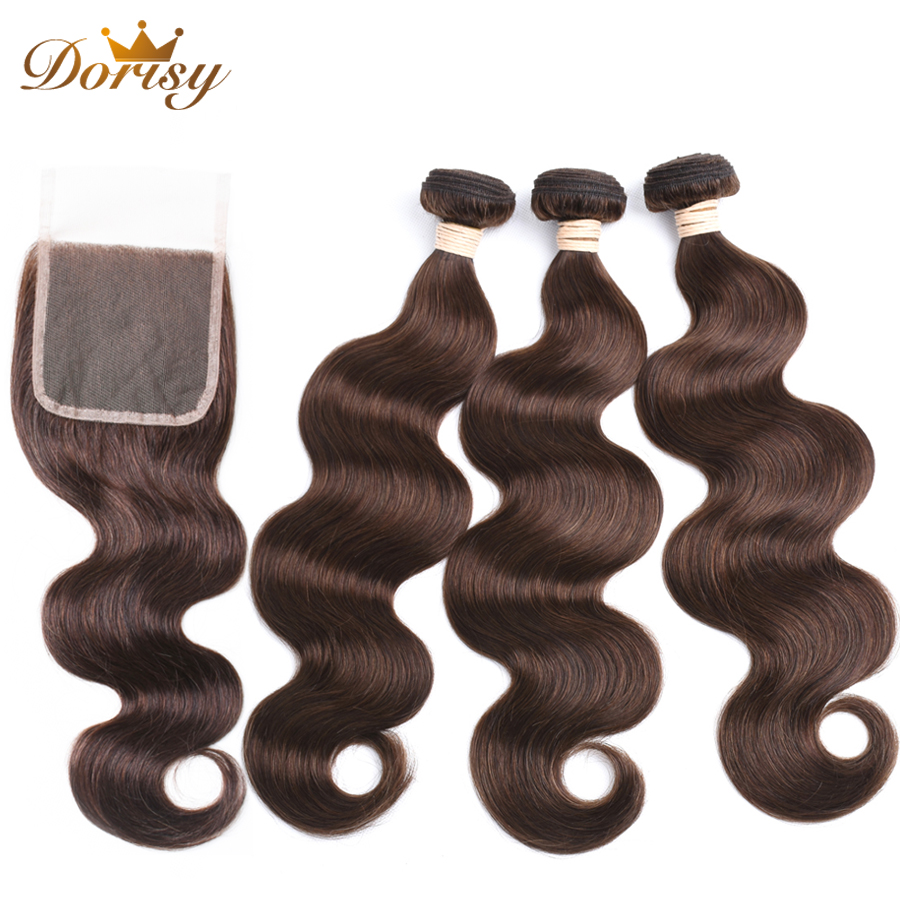 Bundles With Closure Light Brown Color Human Hair Malaysia Body Wave Bundles With 4*4 Lace Closure Remy Hair Extensions