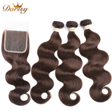 Brown Bundles with Closure Human Hair Bundles With Closure 4# Malaysia Body Wave Bundles With Closure Non Remy Hair Extensions