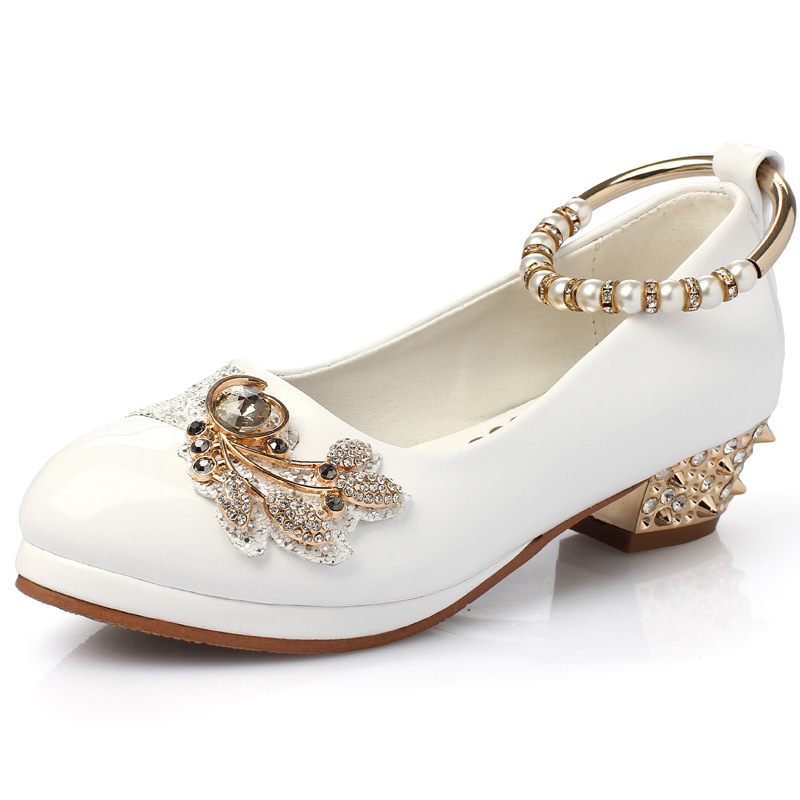 Girls Pearl Beading Rhinestone Sandals Princess Square Heel Pointed Toe Dress Shoes Children Wedding Party Formal Shoes AA51329 half placket pearl beading tie cuff dress