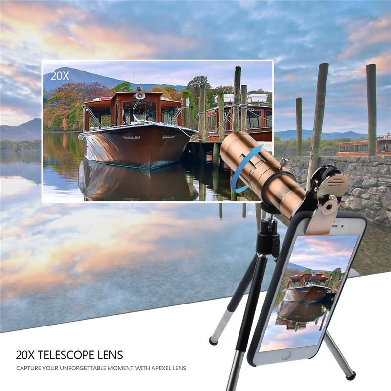 Universal 20X Zoom 4 K HD equipo de lente de la cámara del teléfono telefoto enfoque Manual lente óptica telescópica para Sony para Huawei para Galaxy S9 - 6